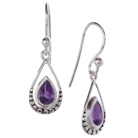 Droplet Earrings, Amethyst-Earring-teklaestelle-teklaestelle