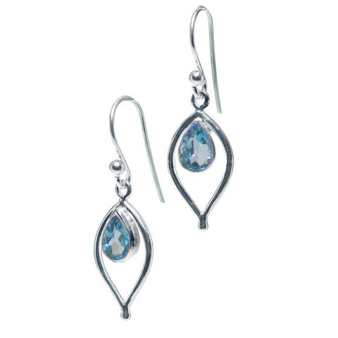 Petal Earrings, Blue Topaz
