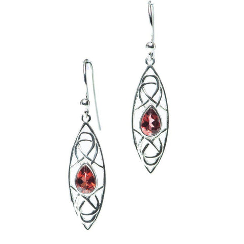 Woven Marquise Earrings, Garnet