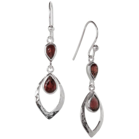 Shimmer Earrings, Garnet