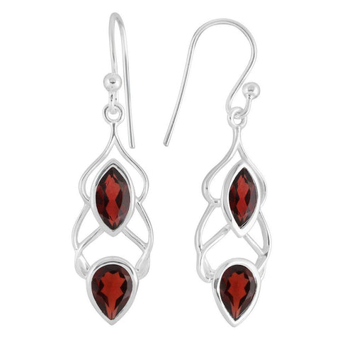 Helix Earrings, Garnet