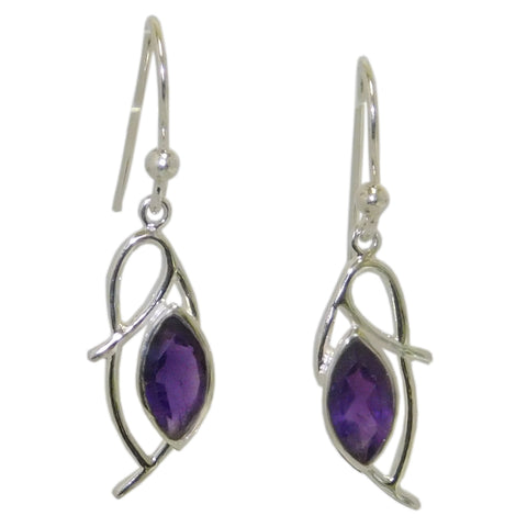 Flourish Earrings, Amethyst