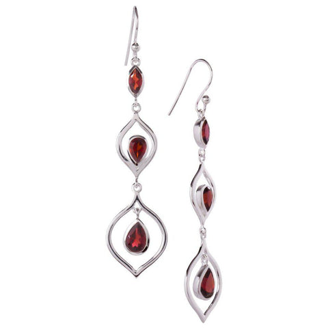 Trickle Earrings, Garnet-Earring-teklaestelle-teklaestelle
