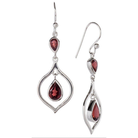 Cradle Earrings, Garnet