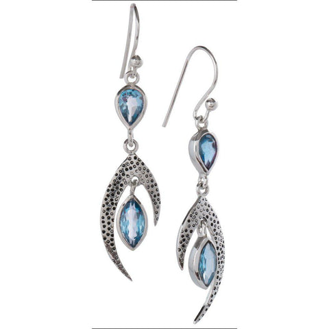 Crest Earrings, Blue Topaz
