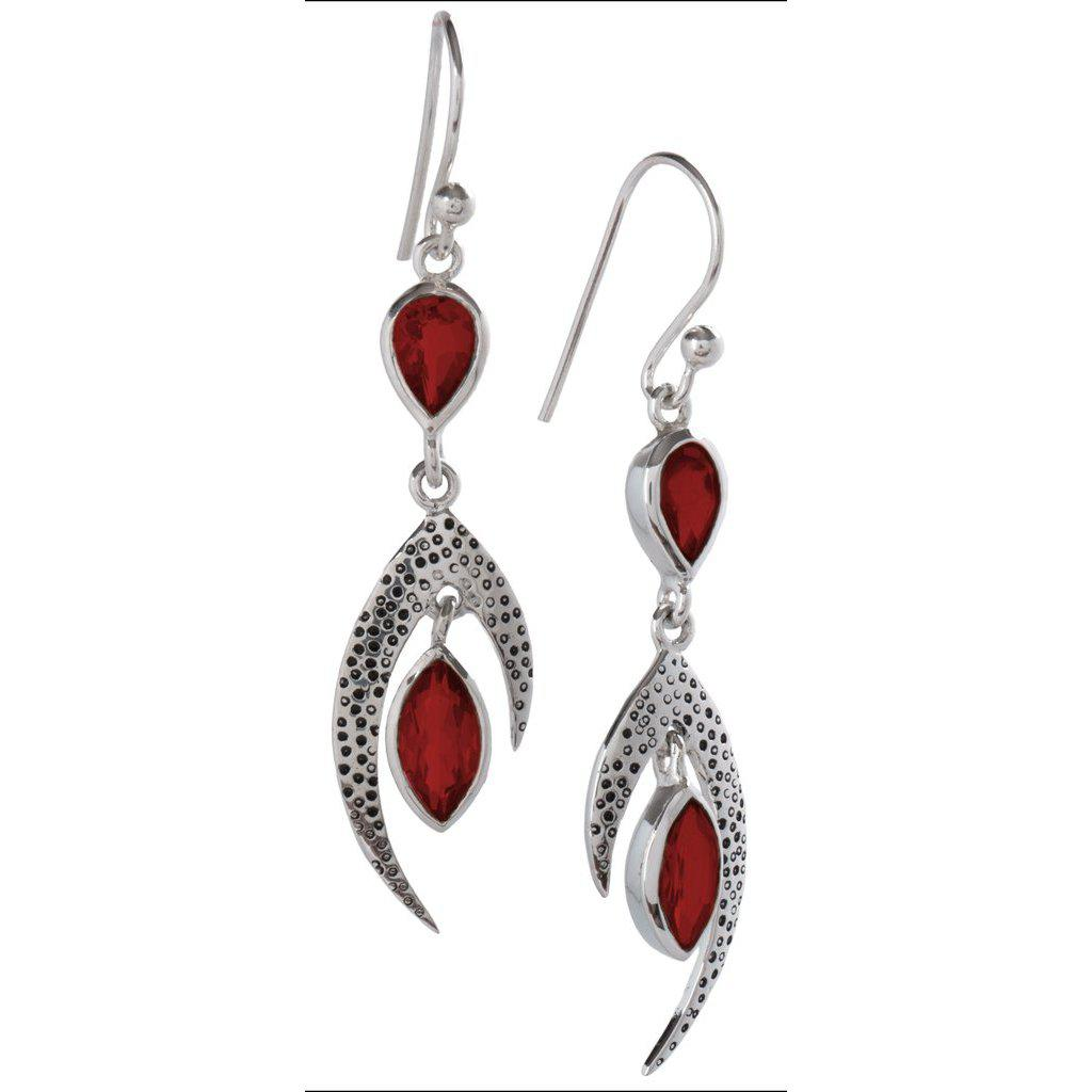Crest Earrings, Garnet-Earring-teklaestelle-teklaestelle