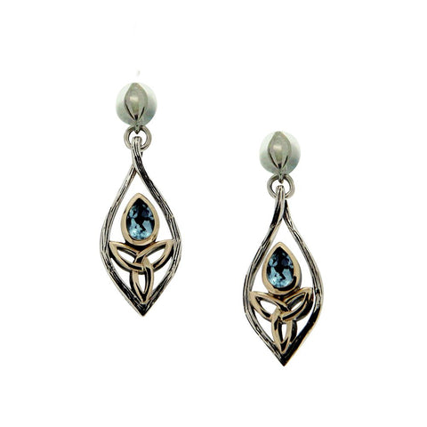 Archangel Post Earrings, Sterling Silver with 10k Gold and Blue Topaz