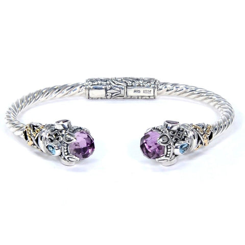 Songket Bracelet Amethyst & Tear Drop Blue Topaz, 925 Sterling Silver & 18k Gold