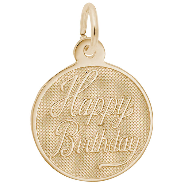 Rembrandt Charms, Small Happy Birthday Disc, Engravable