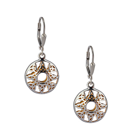 Window to the Soul Trinity Leverback Earrings, Sterling Silver & 22k Gilded Gold