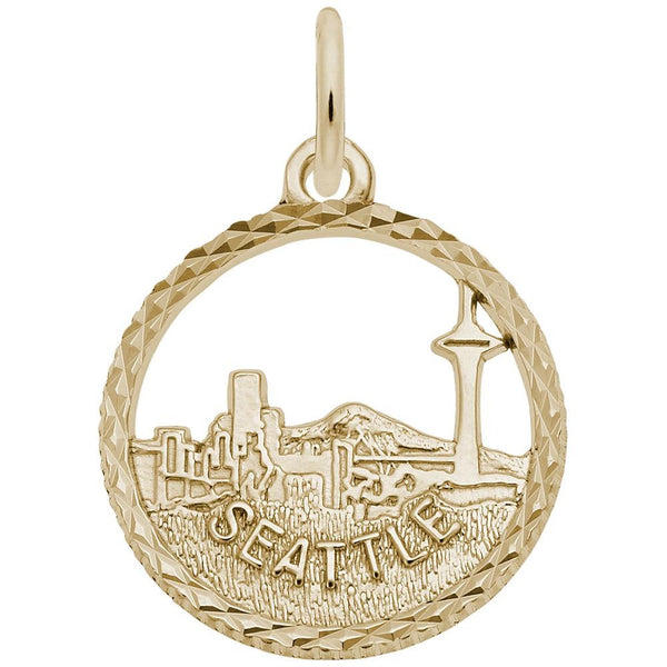 Rembrandt Charms, Seattle Skyline, Engravable