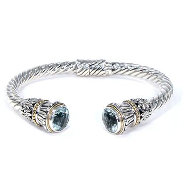 Budding Flower Hinged Cuff Bracelet, 925 Sterling Silver & 18k Gold, Blue Topaz