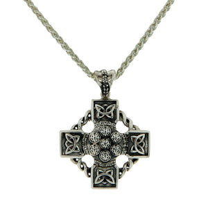 Celtic Wheel Cross Necklace, Sterling Silver and White Topaz