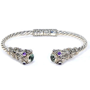 Indonesian Royal Crown Hinged Cuff Bracelet, 925 Sterling Silver, Green Amethyst & Purple Amethyst