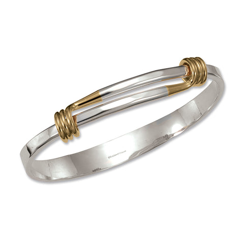 Grand Signature 9.5 Inch Bracelet, Sterling Silver and 14k Gold Wrap