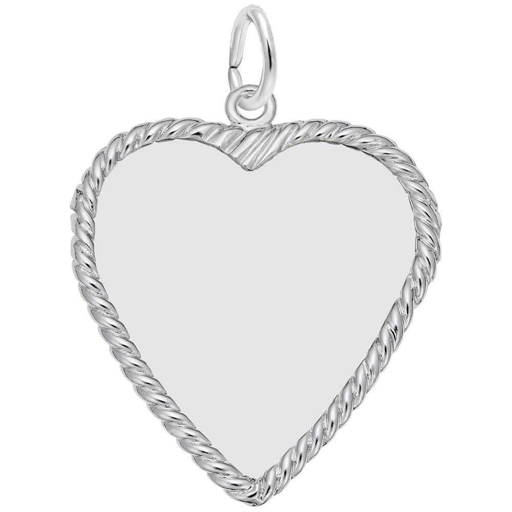 Rembrandt Charms, Roped Heart, 25mm, Engravable
