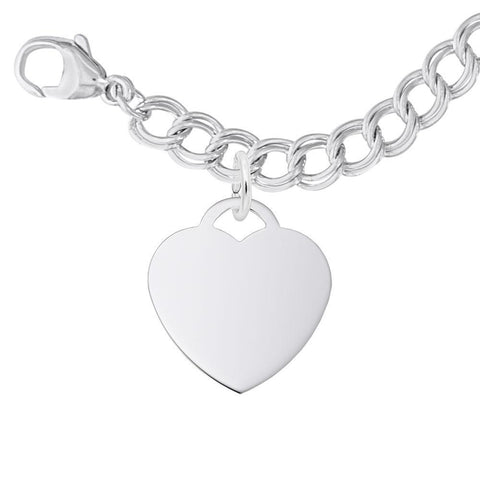 Classic Heart Sterling Silver Bracelet Set, Engravable