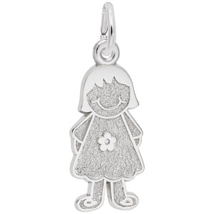 Rembrandt Charms, Girl with Dress & Flower, Engravable