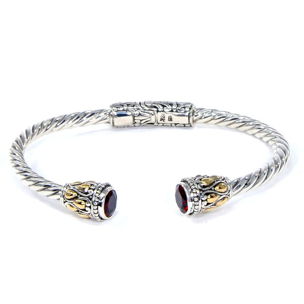 Golden Fire Hinged Bracelet, 925 Sterling Silver & 18k Gold