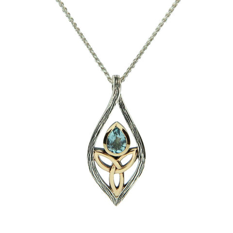 Archangel Necklace, Sterling Silver & 10k Gold with Blue Topaz