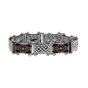 Celtic Cross Bracelets, Bronze & Silver or Silver