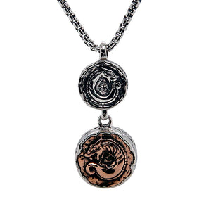 Celtic Double Dragon Coin Necklace