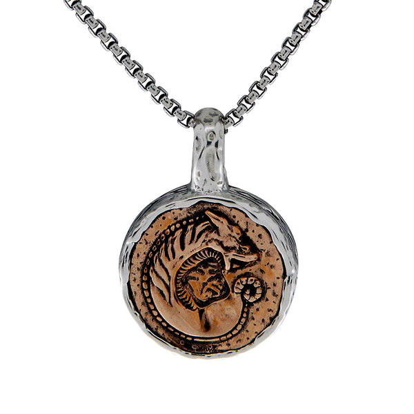 Celtic Dragon Coin Necklaces, Silver & Bronze or Silver