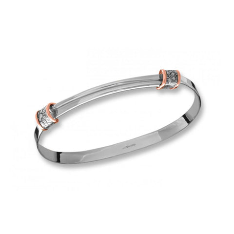 Ed Levin Jewelry-Bracelet-Floral Wrap, Silver & 14k Rose Gold Accent