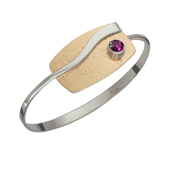 Ed Levin Jewelry-Bracelet-Journey, Rhodolite Garnet, Sterling Silver w/ Gold Plated