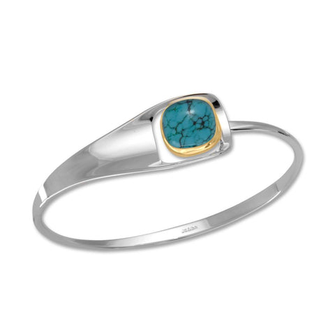 Billow Square, Turquoise, Sterling Silver & 14k Gold Accent