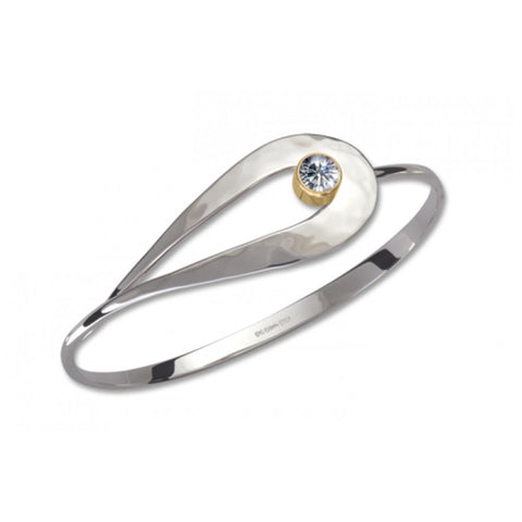 Cleo, Moissanite, Sterling Silver & 14k Gold Accent
