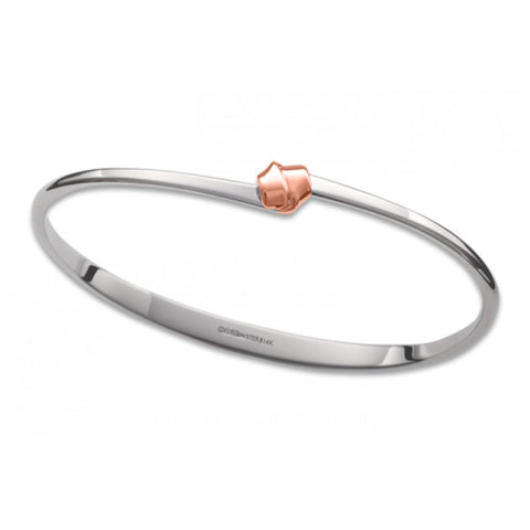 Petite Love Knot, Silver & 14k Rose Gold Accent
