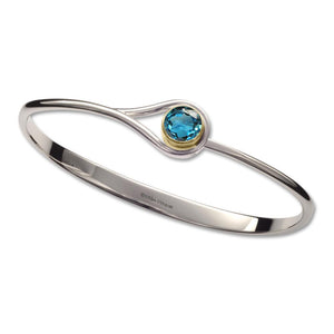 Ed Levin Jewelry-Bracelet-Desire, Blue Topaz, Sterling Silver & 14k Gold Accent