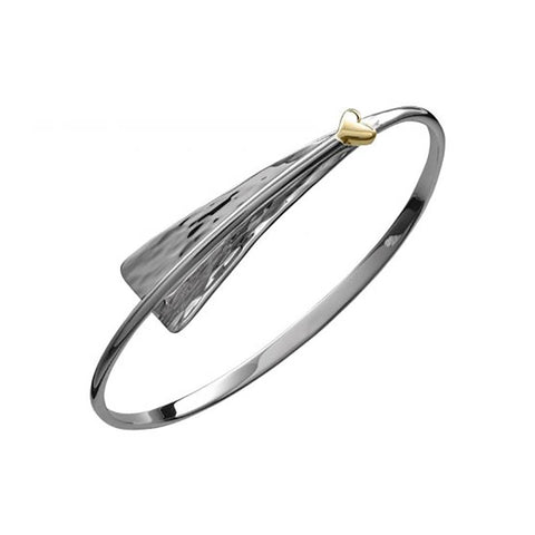 Cascade Bracelet with Heart, Sterling Silver and 14k Gold