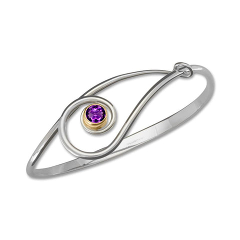 Sliding Clef, Amethyst, Sterling Silver & 14k Gold Accent