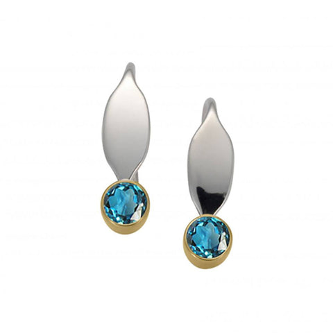 La Petite Earrings with Blue Topaz, Sterling Silver and 14k Gold
