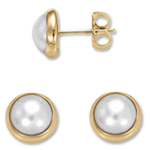 Button Stud, Pearl, 14K Gold