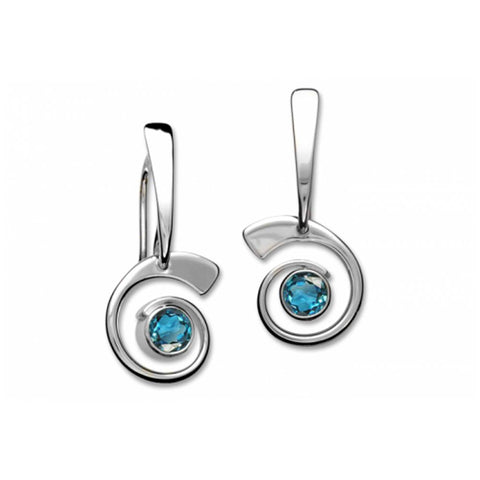 Nautilus Earrings, Sterling Silver with Blue Topaz
