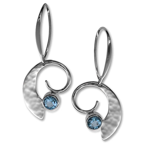 Ed Levin Jewelry-Earring-Moon Dance, Blue Topaz, Sterling Silver