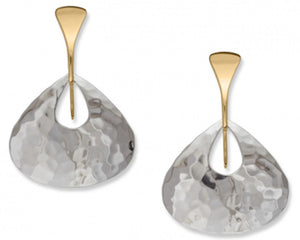 Jamaica Earrings, Large, Sterling Silver and 14k Gold