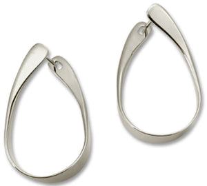 Rythmic Hoop Earrings, Sterling Silver