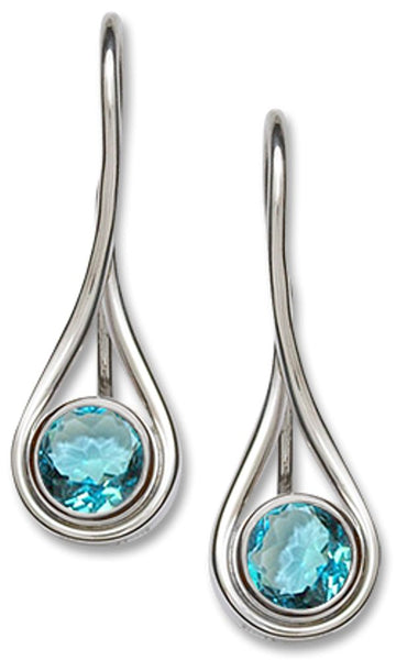 Desire Blue Topaz Earrings, Sterling Silver