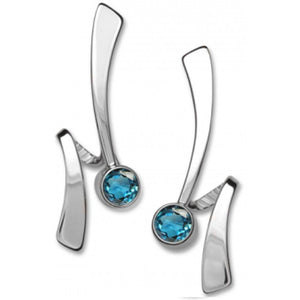 Ed Levin Jewelry-Earring-Wrap Around, Blue Topaz, Sterling Silver