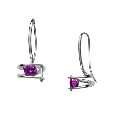 Illuminate Amethyst or Blue Topaz Earrings, Sterling Silver