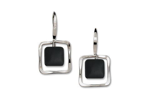 Zenith Black Onyx Earrings, Sterling Silver