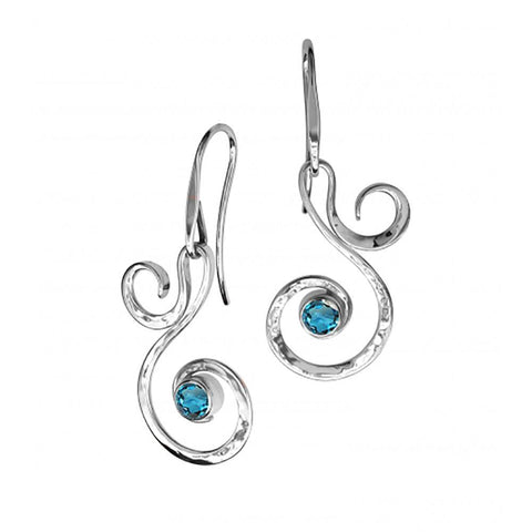 Fiddlehead, Sterling Silver w/ Blue Topaz