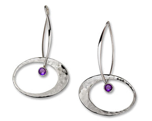 Elliptical Elegance Amethsyt Earrings, Sterling Silver