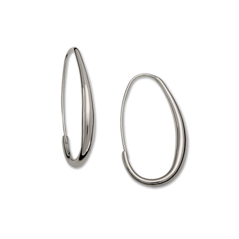 Oval Hoop Earrings, Sterling Silver