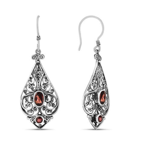 Imperial Scrollwork Earrings, Garnet
