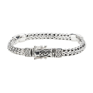 Dragon Weave Hinged Bracelet, Sterling Silver